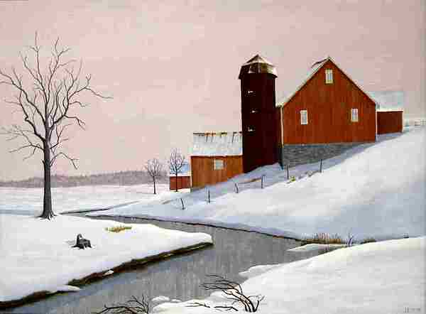 River Painting - Barn By The Stream by Dale Lewis