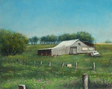 Landscape Painting - Barn II by Rose Baggs
