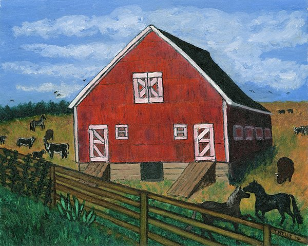 Barnyard On The Prairie Painting by Tanna Lee M Wells