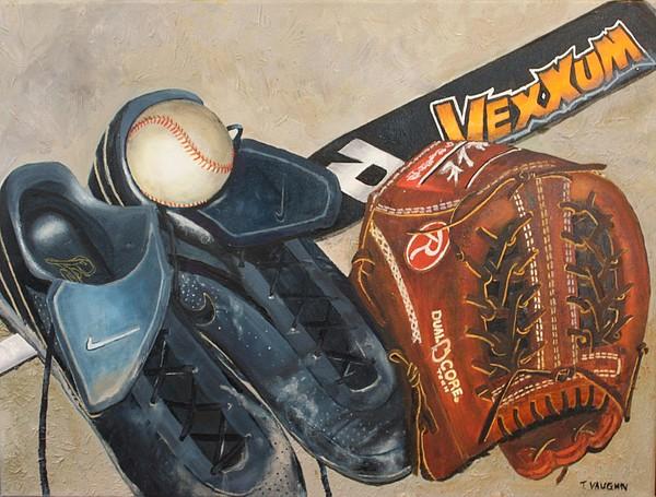 Baseball Painting - Baseball Allstar by Teri Vaughn