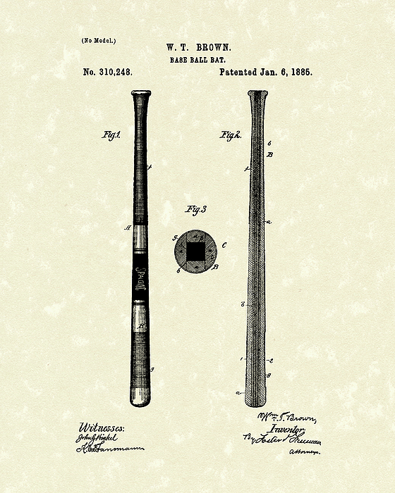 Baseball Drawing - Baseball Bat 1885 Patent Art by Prior Art Design