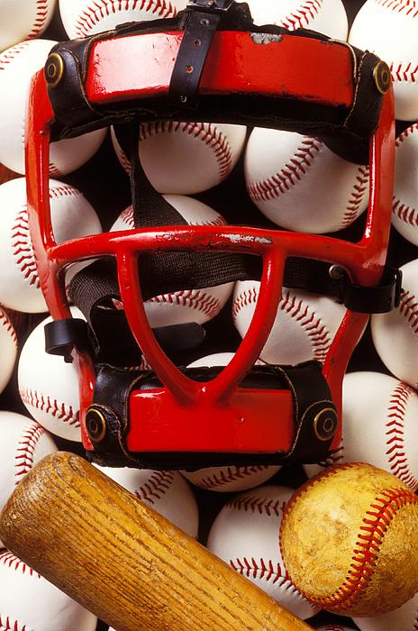 Catchers Mask Photograph - Baseball Catchers Mask And Balls by Garry Gay