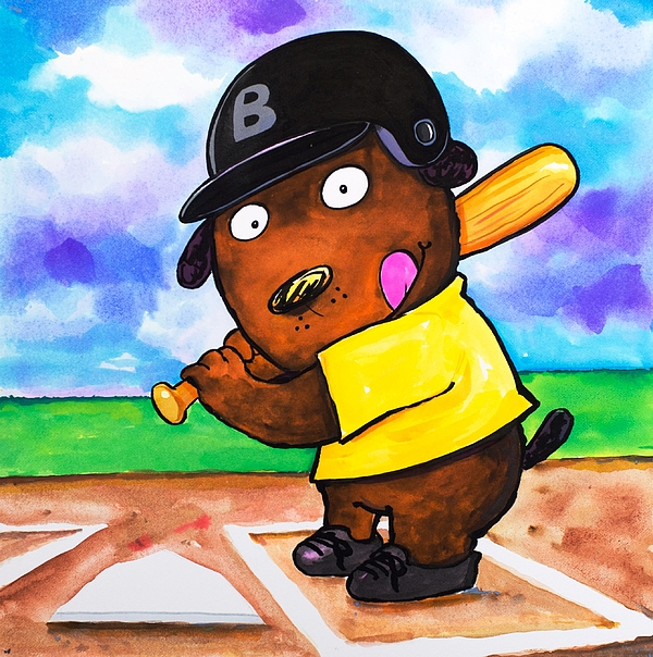 Dog Painting - Baseball Dog by Scott Nelson
