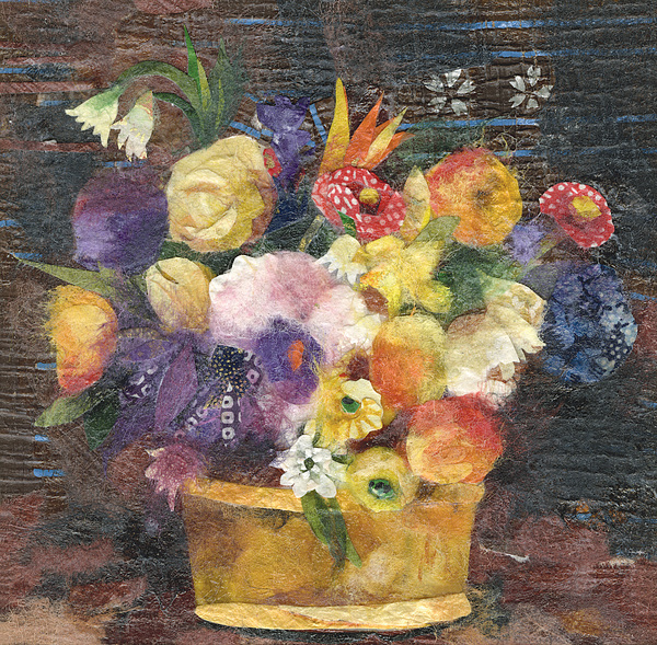 Flowers Painting - Basket With Flowers by Nira Schwartz