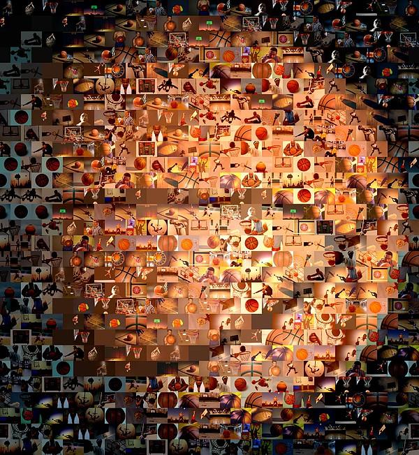 Hoops Digital Art - Basketball Mosaic by Paul Van Scott