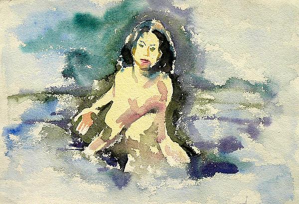 Portrait Painting - Bathing Beauty by Abin Raj