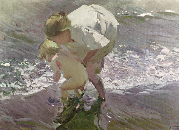 Bathing Painting - Bathing On The Beach by Joaquin Sorolla y Bastida