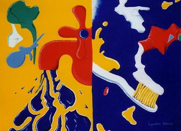 Taps Painting - Bathroom Antics by Lyndon Stokes