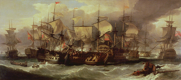 Battle Painting - Battle Of Cape St Vincent by Sir William Allan