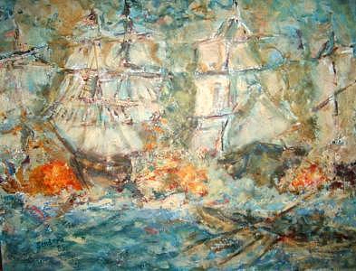 Battle Ships Painting by Joseph Sandora Jr