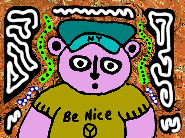 Bear Painting - Be Nice by Jonathan