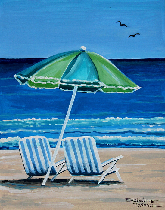 Beach Painting - Beach Chair Bliss by Elizabeth Robinette Tyndall