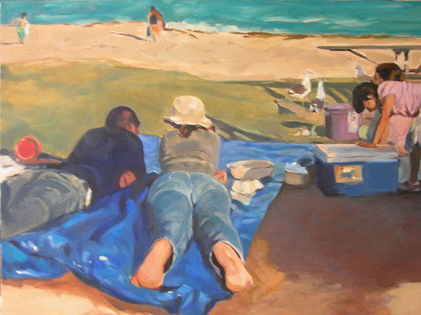 Beach Painting - Beach Picnic by Merle Keller