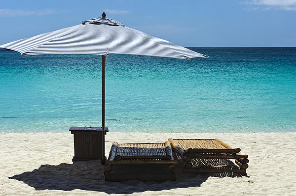 Beach Scene Photograph - Beach Scene With Lounger And Umbrella by Paul W Sharpe Aka Wizard of Wonders