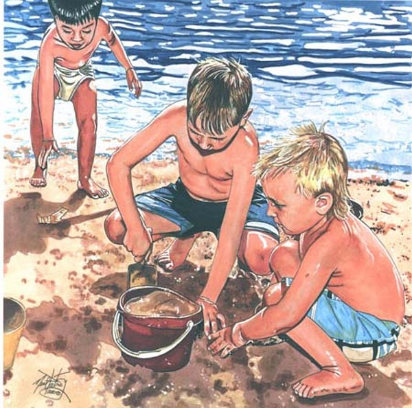 Giclee Drawing - Beach Time by Neal Portnoy