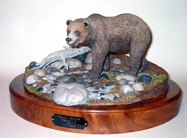 Grizzly Bear Sculpture - Bear Creek Grizzly by Carl Capps