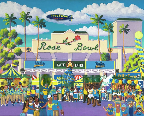 Ucla Bruins Painting - Beautiful Downtown Bruinville by Frank Strasser