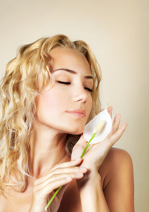 Adult Photograph - Beautiful Female Holding Calla Flower  by Anna Om
