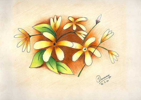 Beautiful Flowers Painting - Beautiful Flowers by Tanmay Singh