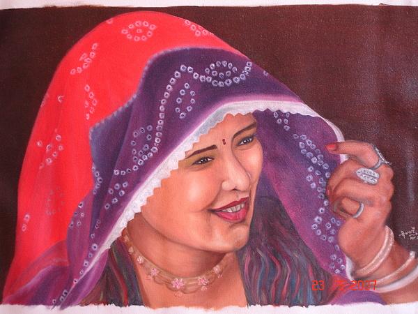Portrait Painting - Beautiful Girl by Rupavani Talari