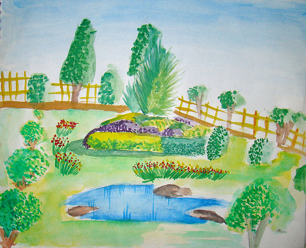 Landscape Painting - Beautiful Park by Tanmay Singh