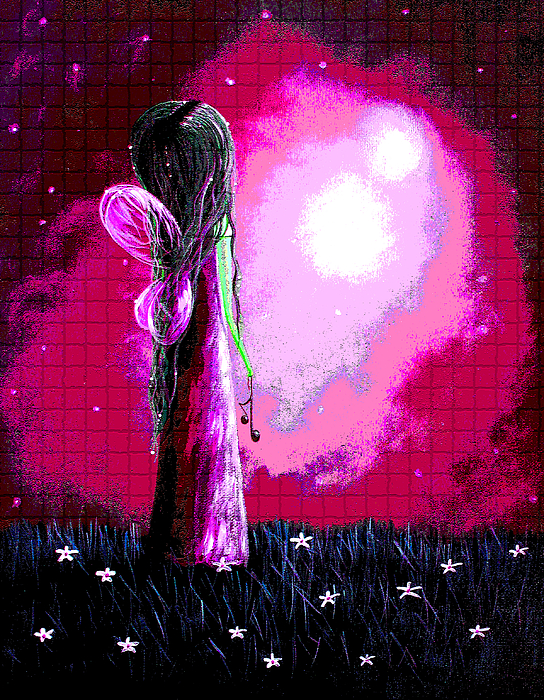 Angels Painting - Beautiful Pink Angel Fairy By Shawna Erback by Shawna Erback