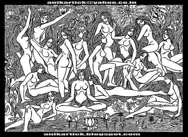 Landscape Drawing - Beauty Of The Nude by ANIKARTICK Azhagarsamy