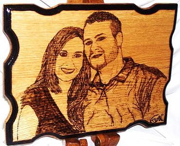 Wedding Gifts Photograph - Becky And Nate Couples Portrait Custom Woodburned Original by Marla Gebhardt