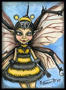 Aceo Painting - Bee Fairy Aceo  by Christi and Cara Brown