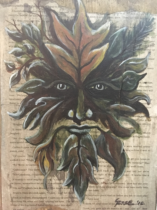 Mythology Painting - Beguiling Green Man by Christine Marie Rose