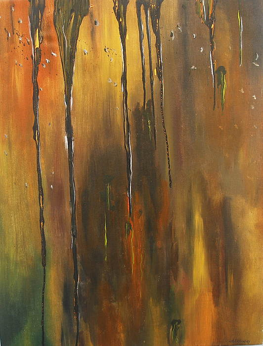 Abstract Painting - Behind The Window by Miroslaw  Chelchowski