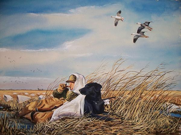 Geese Painting - Behind You by Calvin Carter