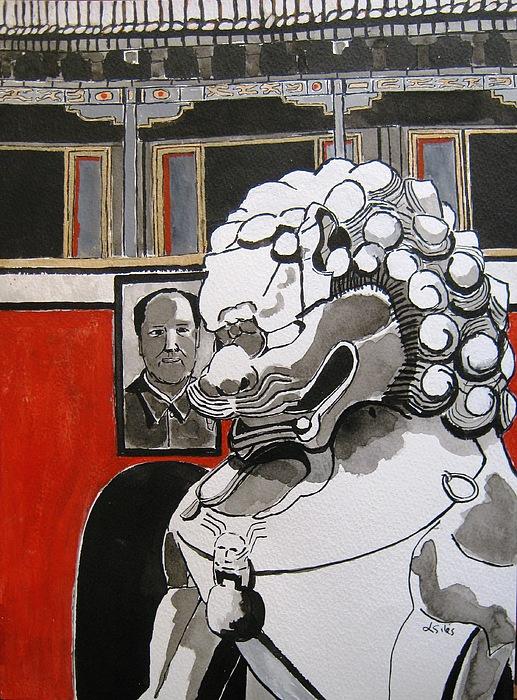 Beijing Painting - Beijing Tiananmen Lion by Lesley Giles