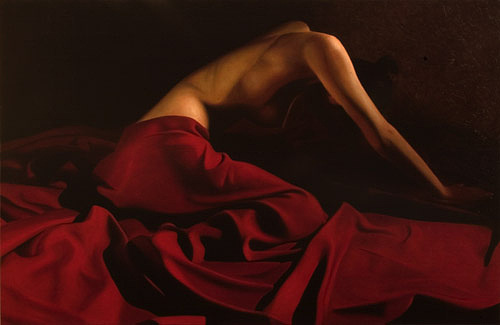 Female Painting - Belinda Red Drape II by Toby Boothman