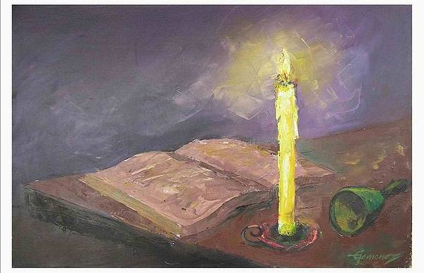Bell book and candle painting by emmanuel gamonez for Candle painting medium