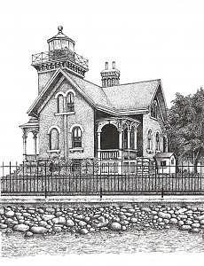 Belleisle Lighthouse Drawing by John  R Harris