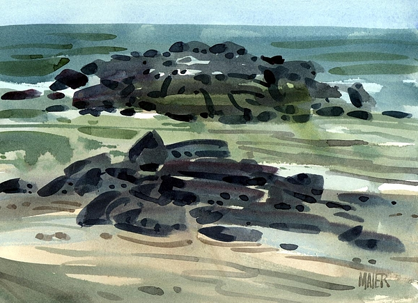 Plein Air Painting - Belmar Jetty Three by Donald Maier