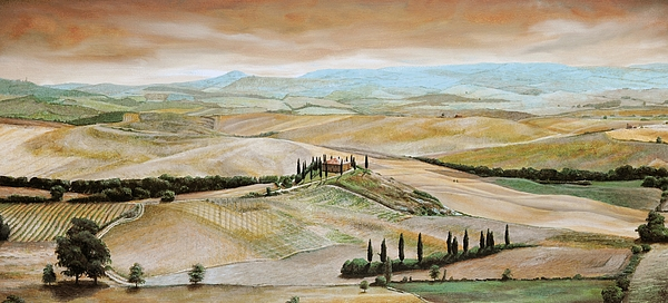 Italian Landscape; Tuscan; Hills; Countryside; Villa; Rural; Agricultural; Farmland; Tuscan Landscape; Hillside; Italy; Belvedere; Tuscany; Tree;  Trees Painting - Belvedere - Tuscany by Trevor Neal
