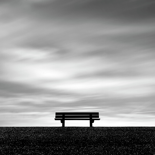 Square Photograph - Bench, Long Exposure by Kees Smans