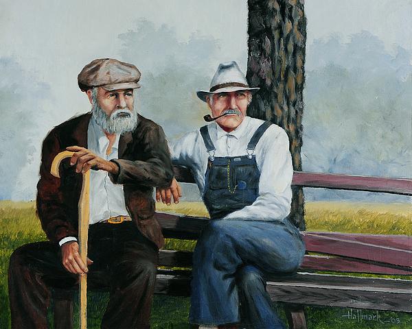 Bob Hallmark Painting - Bench Warmers by Bob Hallmark