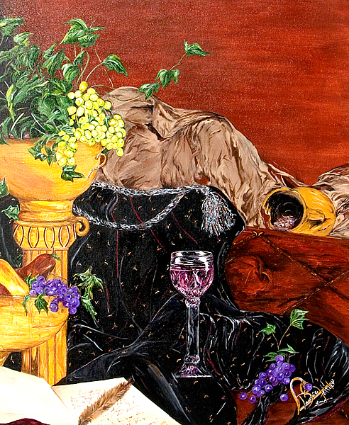 Still-life Painting - Beneath The Wineglass by Dudie  Holder