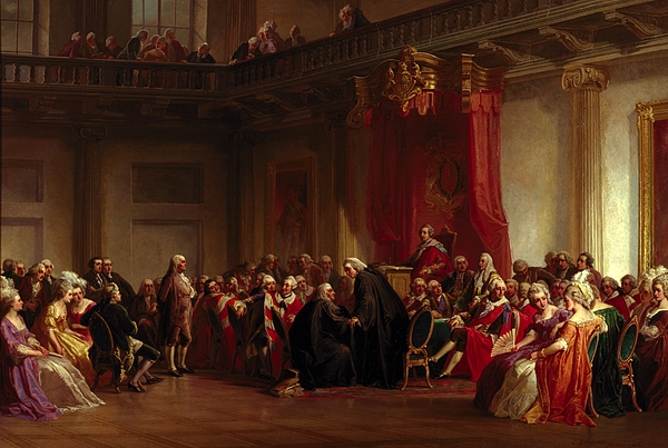 Interior Painting - Benjamin Franklin Appearing Before The Privy Council  by Christian Schussele