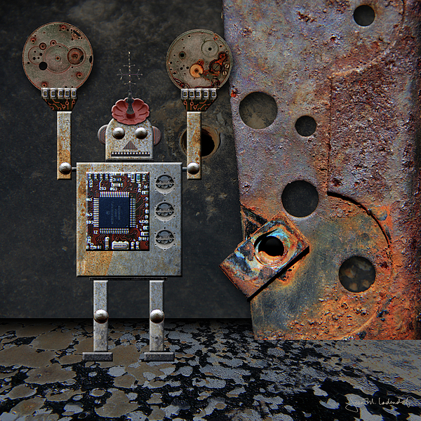 Robot Photograph - Benny Shows His Strength by Joan Ladendorf