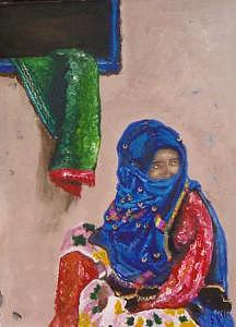 Woman Painting - Berber Woman  by Ahmed Ait Addi