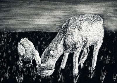 Farm Scene Drawing - Best Friends by Elizabeth Jones