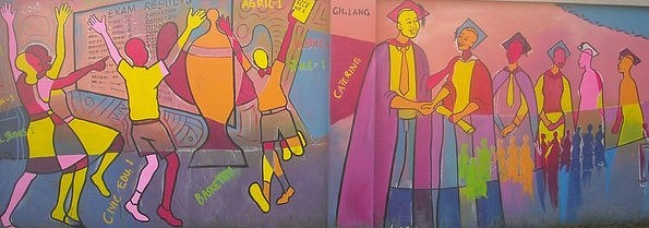 Outdoor Painting - Bethel Educational Mural2 by Sylvester Banahene