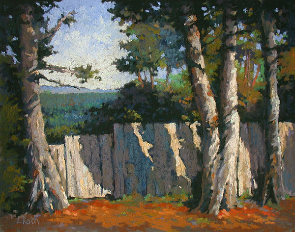Trees Painting - Beyond The Fence by Linda Roth