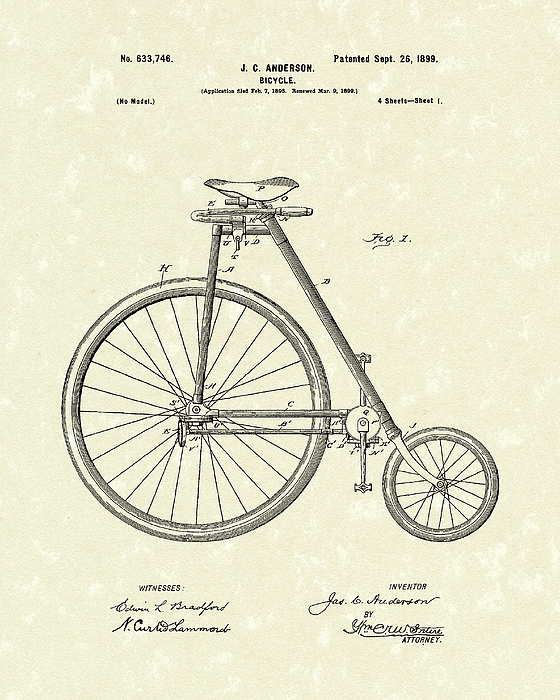Velocipede Drawing - Bicycle Anderson 1899 Patent Art by Prior Art Design