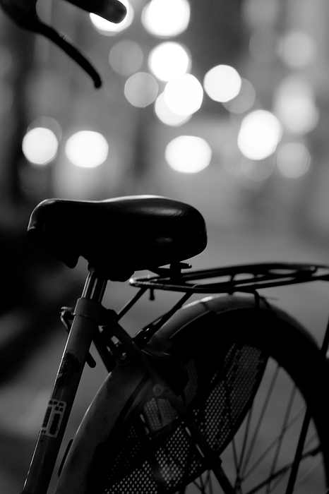 Vertical Photograph - Bicycle On Street At Night In Osaka Japan by Freedom Photography