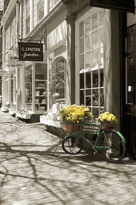 Floral Photograph - Bicycle With Flowers - Nantucket by Henry Krauzyk